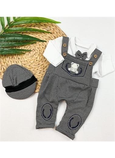 Riccotarz Erkek Bebek Ekoseli Şapkalı Salopet Tulum Renkli